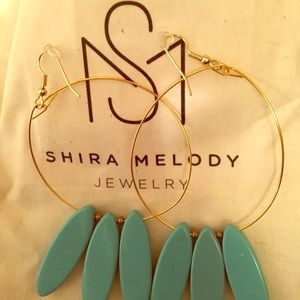 Shira Melody Gold/Teal (L) hoop earrings NWOT
